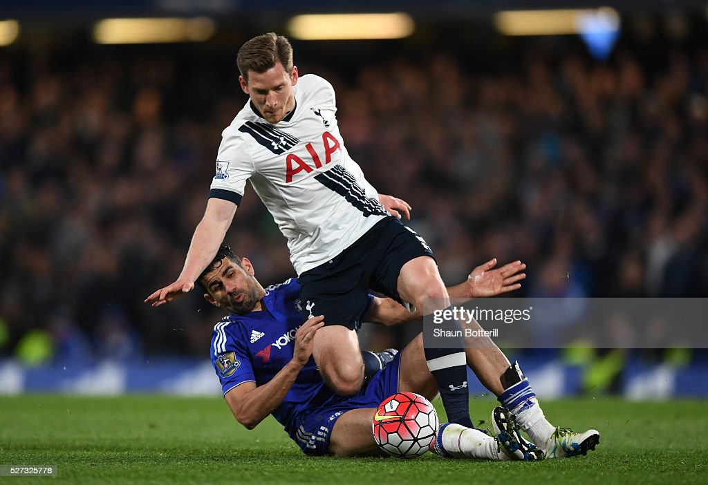 Jan Vertonghen of Tottenham Hotspur is brough down by Diego Costa of Chelsea during the Barclays Premier League match between Chelsea and Tottenham Hotspur at Stamford Bridge on May 02, 2016 in London, England.jd