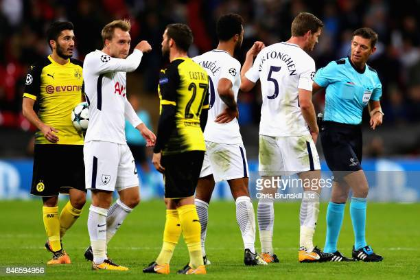 Jan Vertonghen of Tottenham Hotspur reacts after being sent off by Referee Gianluca Rocchi during the UEFA Champions League group H match between...