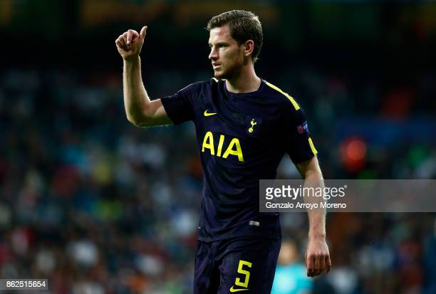 Jan Vertonghen of Tottenham Hotspur reacts during the UEFA Champions League group H match between Real Madrid and Tottenham Hotspur at Estadio...