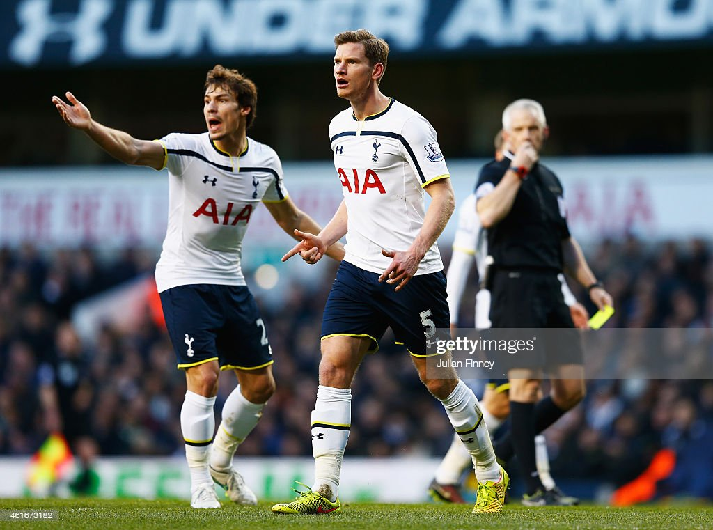 <a gi-track='captionPersonalityLinkClicked' href=/galleries/search?phrase=Jan+Vertonghen&family=editorial&specificpeople=1360499 ng-click='$event.stopPropagation()'>Jan Vertonghen</a> (C) of Tottenham Hotspur reacts with <a gi-track='captionPersonalityLinkClicked' href=/galleries/search?phrase=Benjamin+Stambouli&family=editorial&specificpeople=7133311 ng-click='$event.stopPropagation()'>Benjamin Stambouli</a> after giving away the free kick leading to the goal scored by <a gi-track='captionPersonalityLinkClicked' href=/galleries/search?phrase=Sebastian+Larsson&family=editorial&specificpeople=719331 ng-click='$event.stopPropagation()'>Sebastian Larsson</a> of Sunderland during the Barclays Premier League match between Tottenham Hotspur and Sunderland at White Hart Lane on January 17, 2015 in London, England.