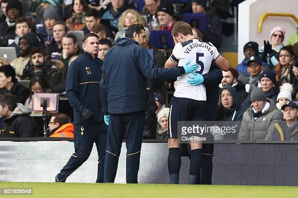 Jan Vertonghen of Tottenham Hotspur receives treatment from the medical team during the Premier League match between Tottenham Hotspur and West...