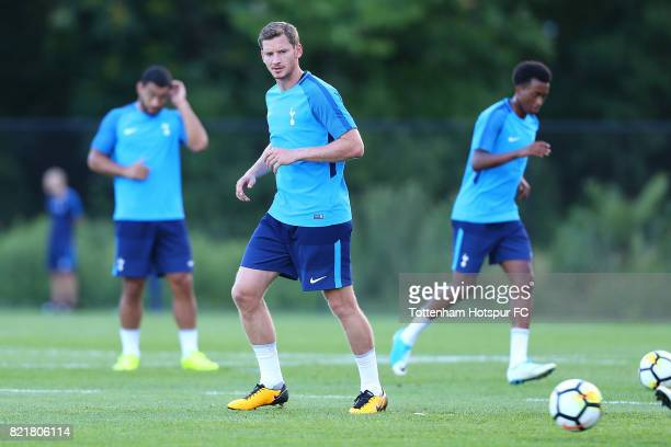 Jan Vertonghen of Tottenham Hotspur runs drills during their training session at the New York Red Bull Training Facility on July 24 2017 in Whippany...