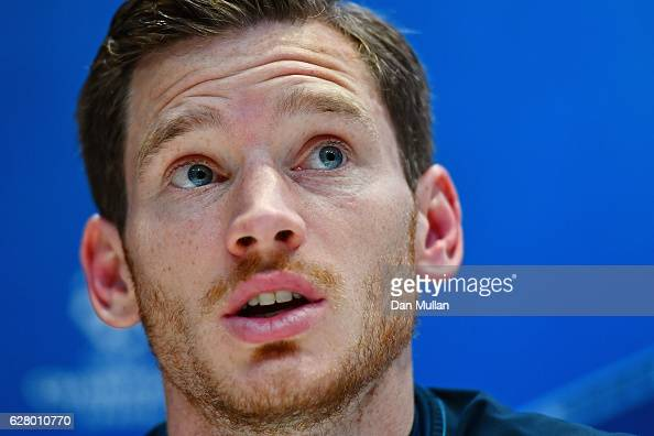 Jan Vertonghen of Tottenham Hotspur speaks to the media during the Tottenham Hotspur FC press conference at the Tottenham Hotspur FC Training Centre...