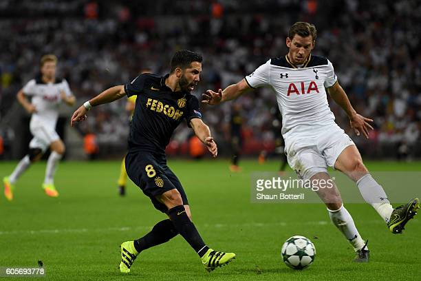 Jan Vertonghen of Tottenham Hotspur tackles Joao Moutinho of AS Monaco during the UEFA Champions League match between Tottenham Hotspur FC and AS...