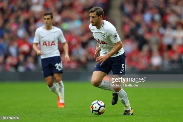 Jan Vertonghen of Tottenham in action during the Premier League match between Tottenham Hotspur and AFC Bournemouth at Wembley Stadium on October 14...