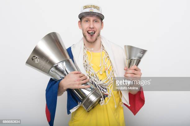 Jan Vesely #24 of Fenerbahce Istanbul pose with Trophy duringTurkish Airlines EuroLeague Basketball Final Four istanbul 2017 Champion Photo Session...