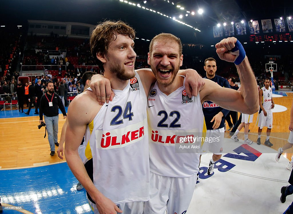 Jan Vesely #24 of Fenerbahce Ulker Istanbul and Luka Zoric #22 of Fenerbahce Ulker Istanbul celebrate victory during the Turkish Airlines Euroleague...