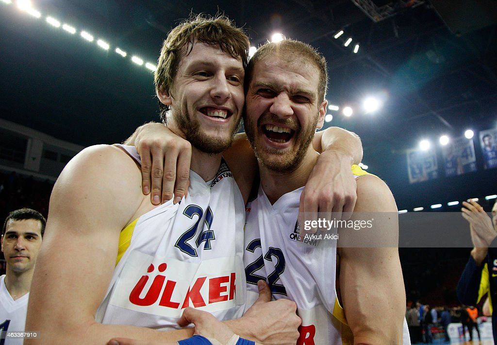 Jan Vesely, #24 of Fenerbahce Ulker Istanbul and Luka Zoric, #22 of Fenerbahce Ulker Istanbul celebrate victory during the Turkish Airlines Euroleague Basketball Top 16 Date 7 game between Anadolu Efes Istanbul v Fenerbahce Ulker Istanbul at Abdi Ipekci Arena on February 13, 2015 in Istanbul, Turkey.