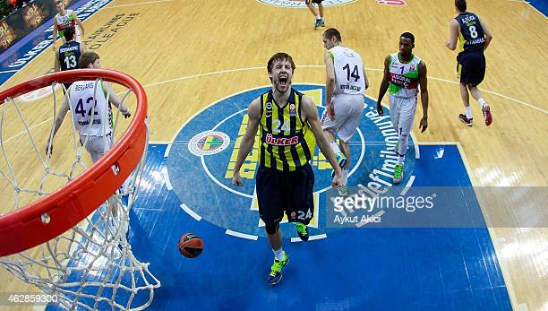 Jan Vesely #24 of Fenerbahce Ulker Istanbul in action during the Euroleague Basketball Top 16 Date 6 game between Fenerbahce Ulker Istanbul v Laboral...