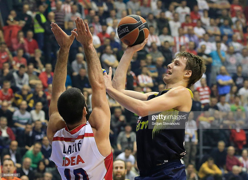 <a gi-track='captionPersonalityLinkClicked' href=/galleries/search?phrase=Jan+Vesely&family=editorial&specificpeople=5620499 ng-click='$event.stopPropagation()'>Jan Vesely</a> (R) of Fenerbahce Istanbul in action against Branko Lazic (L) of Crvena Zvezda Belgrade during the Turkish Airlines Euroleague Basketball Top 16 Round 2 game between Crvena Zvezda Telekom Belgrade and Fenerbahce Istanbul in Pionir Hall on January 08, 2015 in Belgrade, Serbia.