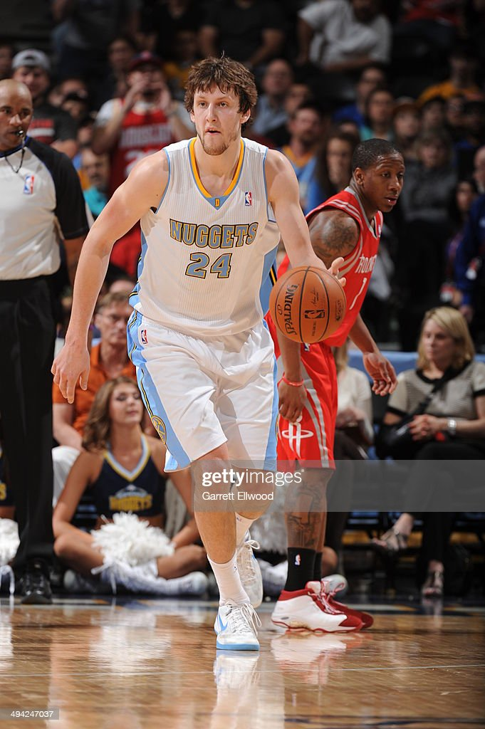 Jan Vesely #24 of the Denver Nuggets handles the ball against the Houston Rockets on April 9, 2014 at the Pepsi Center in Denver, Colorado.