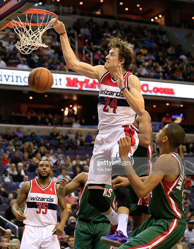 <a gi-track='captionPersonalityLinkClicked' href=/galleries/search?phrase=Jan+Vesely&family=editorial&specificpeople=5620499 ng-click='$event.stopPropagation()'>Jan Vesely</a> #24 of the Washington Wizards dunks the ball against Milwaukee Bucks during the second quarter at Verizon Center on December 6, 2013 in Washington, DC.