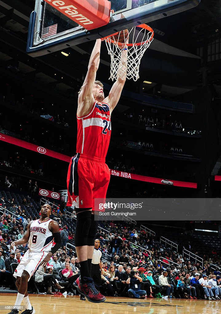 Jan Vesely #24 of the Washington Wizards dunks the ball against the Atlanta Hawks on December 13, 2013 at Philips Arena in Atlanta, Georgia.