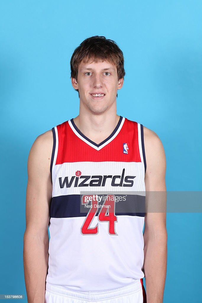 <a gi-track='captionPersonalityLinkClicked' href=/galleries/search?phrase=Jan+Vesely&family=editorial&specificpeople=5620499 ng-click='$event.stopPropagation()'>Jan Vesely</a> #24 of the Washington Wizards poses for a portrait during 2012 NBA Media Day at the Verizon Center on October 1, 2012 in Washington, DC.