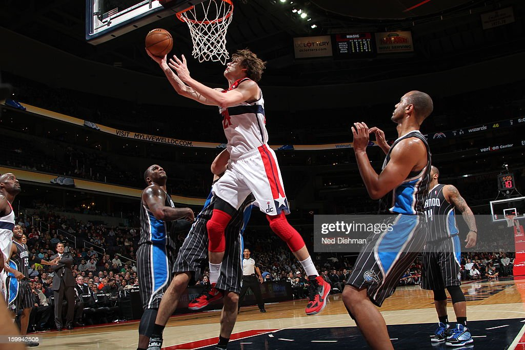 <a gi-track='captionPersonalityLinkClicked' href=/galleries/search?phrase=Jan+Vesely&family=editorial&specificpeople=5620499 ng-click='$event.stopPropagation()'>Jan Vesely</a> #24 of the Washington Wizards shoots a layup against the Orlando Magic at the Verizon Center on January 14, 2013 in Washington, DC.