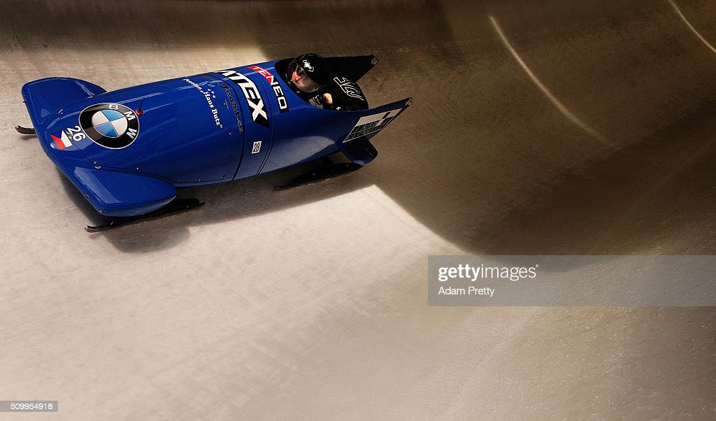 Jan Vrba and Jakub Nosek of the Czech Republic complete their second run in the Men's 2-man Bobsleigh during Day 2 of the IBSF World Championships for Bob and Skeleton at Olympiabobbahn Igls on February 13, 2016 in Innsbruck, Austria.