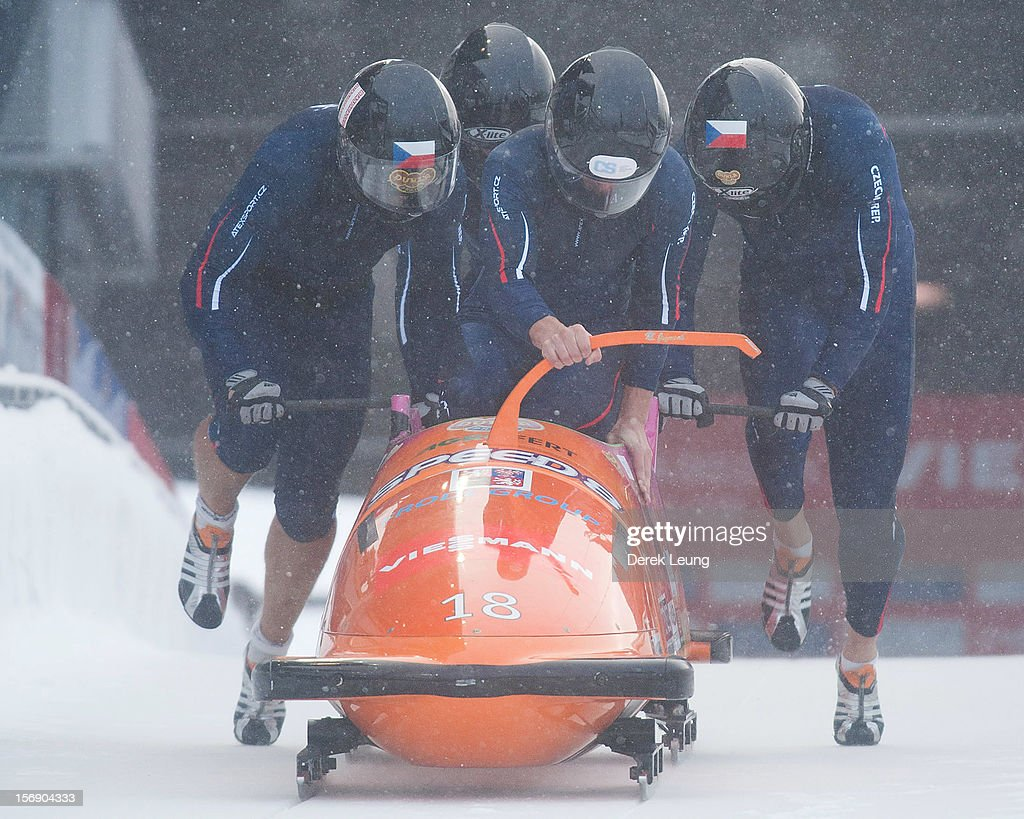 Jan Vrba, Dominik Suchy, Jan Stoklaska and Michal Vacek of Czech Republic 1 compete in the four-man bobsleigh on day 2 of the IBSF 2012 Bobsleigh and Skeleton World Cup on November 24, 2012 at the Whistler Sliding Centre in Whistler, British Columbia, Canada.