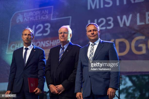 Jan Widera Deputy Minister of Sport and Svein Arne Hansen President of European Athletics and Rafal Bruski Mayor of Bydgoszcz attend Opening Ceremony...