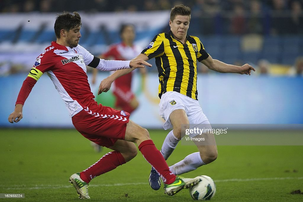 Jan Wuytens of FC Utrecht, Marco van Ginkel of Vitesse during the Dutch Eredivisie match between Vitesse Arnhem and FC Utrecht at the Gelredome on march 01, 2013 in Arnhem, The Netherlands