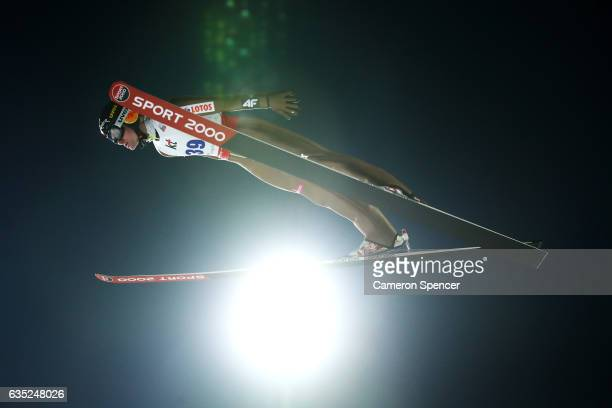Jan Ziobro of Poland jumps during trainining for the 2017 FIS Ski Jumping World Cup test event For PyeongChang 2018 at Alpensia Ski Jumping Center on...
