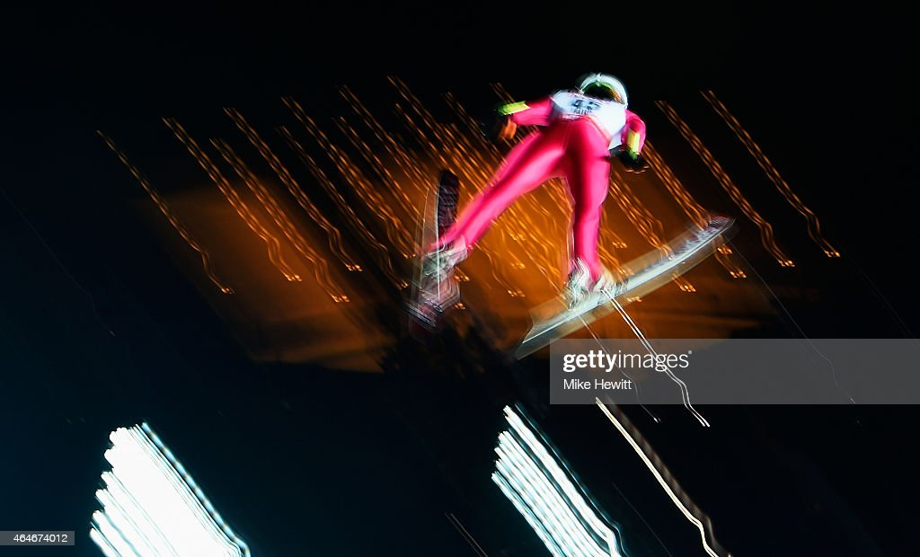 Jan Ziobro of Poland practices during the Men's Large Hill Team Ski Jumping training during the FIS Nordic World Ski Championships at the Lugnet...