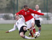 Jana Blessing of Germany battles for the ball with Laura Feiersinger of Austria during the U17 Women Euro Qualifier match between Austria and Gemany...