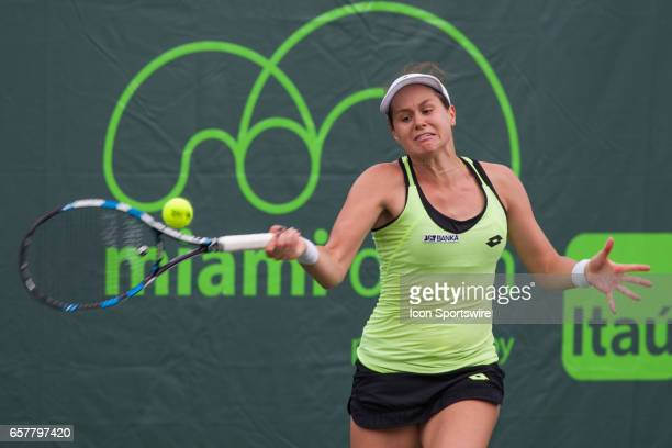 Jana Cepelova in action during the 2017 Miami Open in Key on March 25 at the Tennis Center at Crandon Park in Biscayne FL