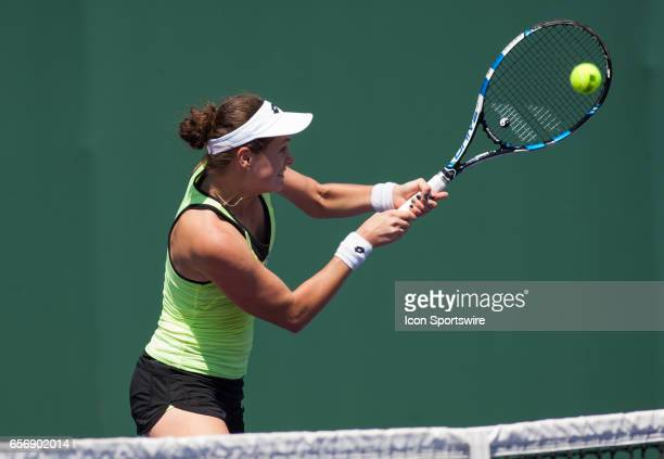 Jana Cepelova in action during the Miami Open on March 22 at the Tennis Center at Crandon Park in Key Biscayne FL