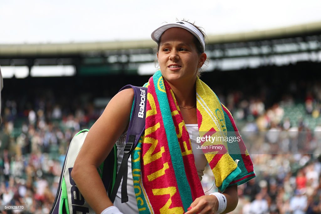 Jana Cepelova of Slovakia celebrates victory during the Ladies Singles second round match against Gabrine Muguruza of Spain on day four of the Wimbledon Lawn Tennis Championships at the All England Lawn Tennis and Croquet Club on June 30, 2016 in London, England.