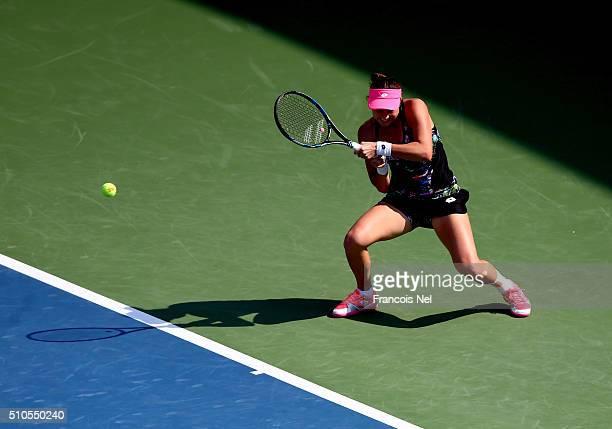 Jana Cepelova of Slovakia in action against Elina Svitolina of Ukraine during day two of the WTA Dubai Duty Free Tennis Championship at the Dubai...