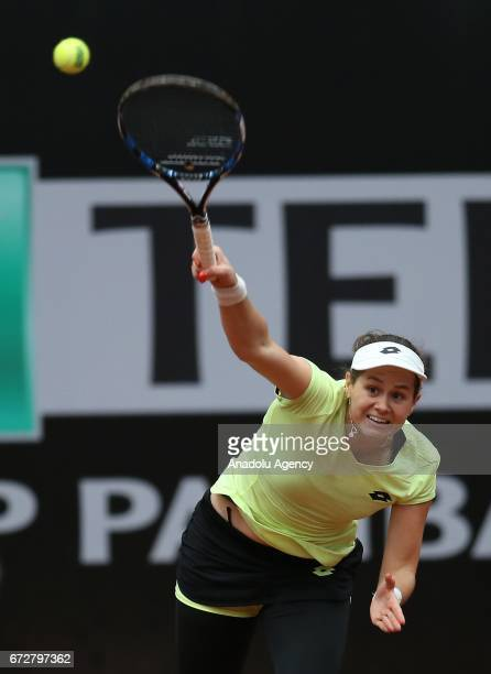 Jana Cepelova of Slovakia in action against Eugenie Bouchard of Canada during the TEB BNP Paribas Istanbul Cup women's tennis match at Garanti Koza...