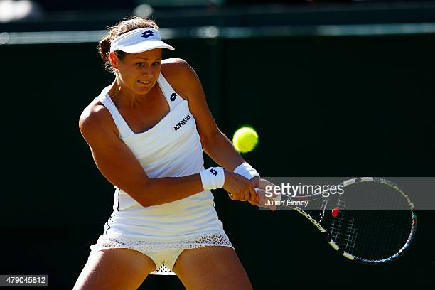 Jana Cepelova of Slovakia in action in her Ladies Singles first round match against Simona Halep of Romania during day two of the Wimbledon Lawn...