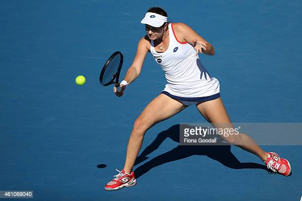 Jana Cepelova of Slovakia plays a backhand shot during her match against third seed Venus Williams during day two of the 2015 ASB Classic at ASB...