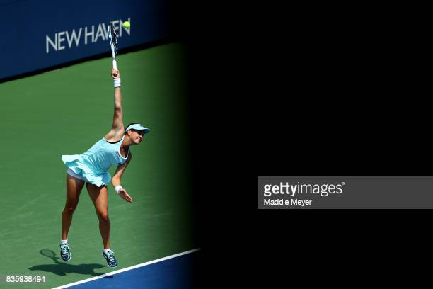 Jana Cepelova of Slovakia serves to Christina McHale of the United States during Day 3 of the Connecticut Open at Connecticut Tennis Center at Yale...