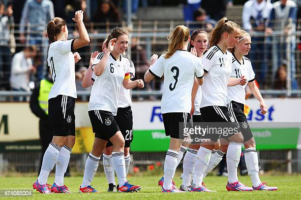 Jana Feldkamp of Germany celebrates her team's second goal with team mates during the U17 girls international friendly match between germany and...