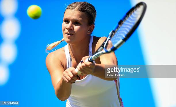 Jana Fett of Croatia hits a backhand during the qualifying match against Fanny Stollar of Hungary on day two of qualifying for the Aegon Classic at...
