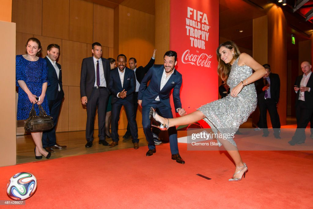 Jana Ina Zarella (L) and Giovanni Zarella pose at the Gala Night of the FIFA World Cup Trophy Tour on March 29, 2014 in Berlin, Germany.