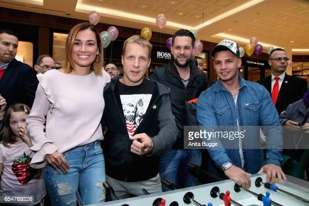 Jana Ina Zarella Oliver Pocher Michael Killing and Pietro Lombardi attend the 'Lass uns lachen' VIP event at 'Mall of Berlin'on March 18 2017 in...