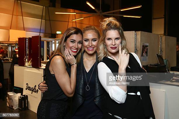 Jana Ina Zarrella Alena Gerber and Monica Ivancan attend the Platform Fashion Selected show during Platform Fashion January 2016 at Areal Boehler on...