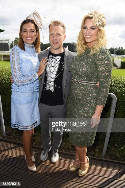 Jana Ina Zarrella Oliver Pocher and Angelina Kirsch during the Audi Ascot Race Day 2017 on August 20 2017 in Hanover Germany