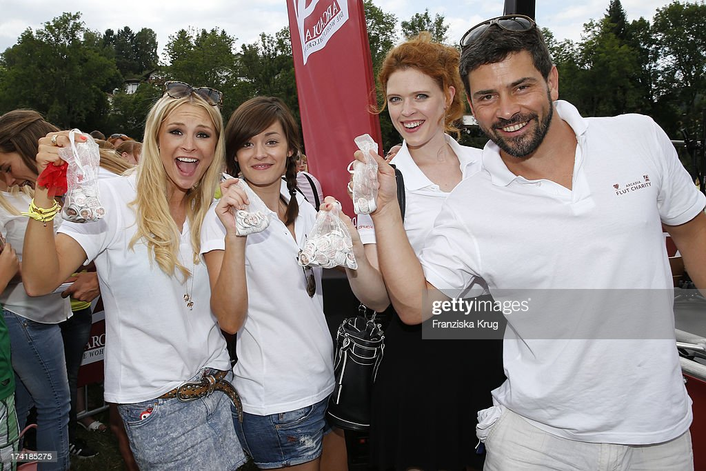 Jana Julie Kilka, Diane Willems, Janina Isabell Batoly and Daniel Sellier attend the Charity Event Benefitting Flood Victims on July 20, 2013 in Grafenau, Germany.