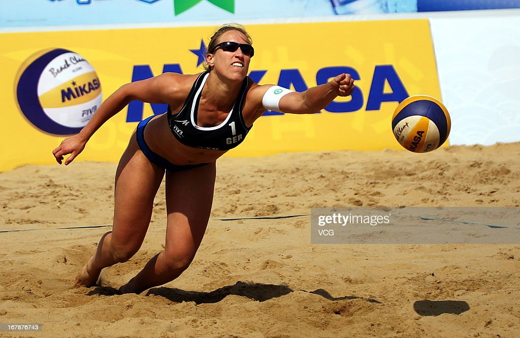 Jana Kohler of Germany in action against Jantine van der Vlist and Marloes Wesselink of The Netherlands during the women's qualification of FIVB Beach Volleyball Shanghai Grand Slam at Jinshan City Beach on May 1, 2013 in Shanghai, China.