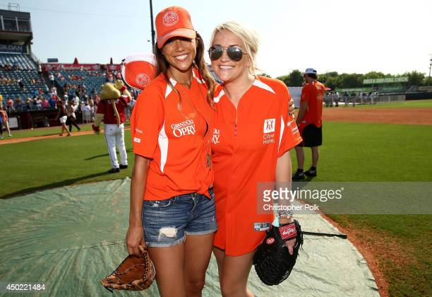 Jana Kramer and Jamie Lynn Spears attend the City of Hope Celebrity Softball Game during the CMA Festival at Greer Stadium on June 7 2014 in...