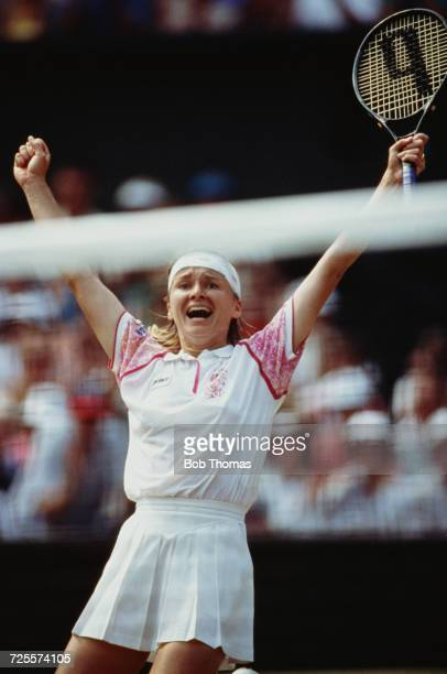 Jana Novotna of the Czech Republic screams after beating Martina Navratilova of the United States in two straight sets in the women's singles...