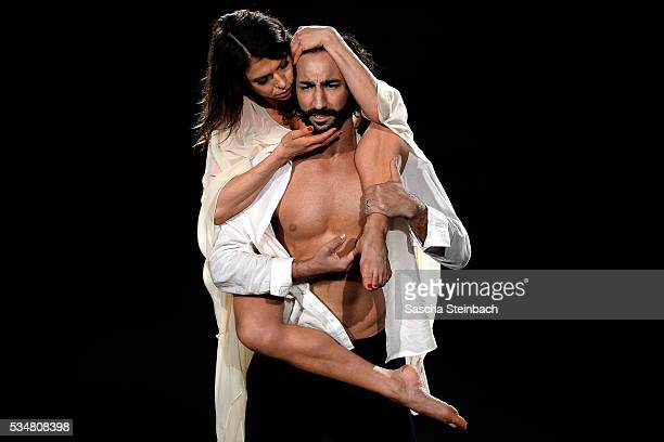 Jana Pallaske and Massimo Sinato perform on stage during the 11th show of the television competition 'Let's Dance' at Coloneum on May 27 2016 in...