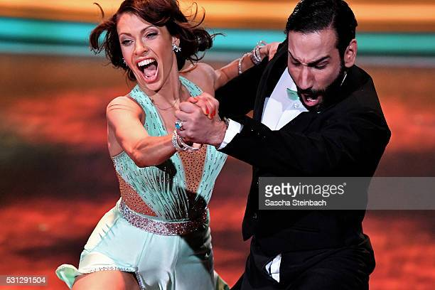 Jana Pallaske and Massimo Sinato perform on stage during the 9th show of the television competition 'Let's Dance' at Coloneum on May 13 2016 in...