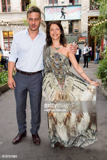 Jana Pallaske and Tom Wlaschiha arrive for a reception with creatives at 'Claerchens Ballhaus' the last original dancehall in Berlin on the second...