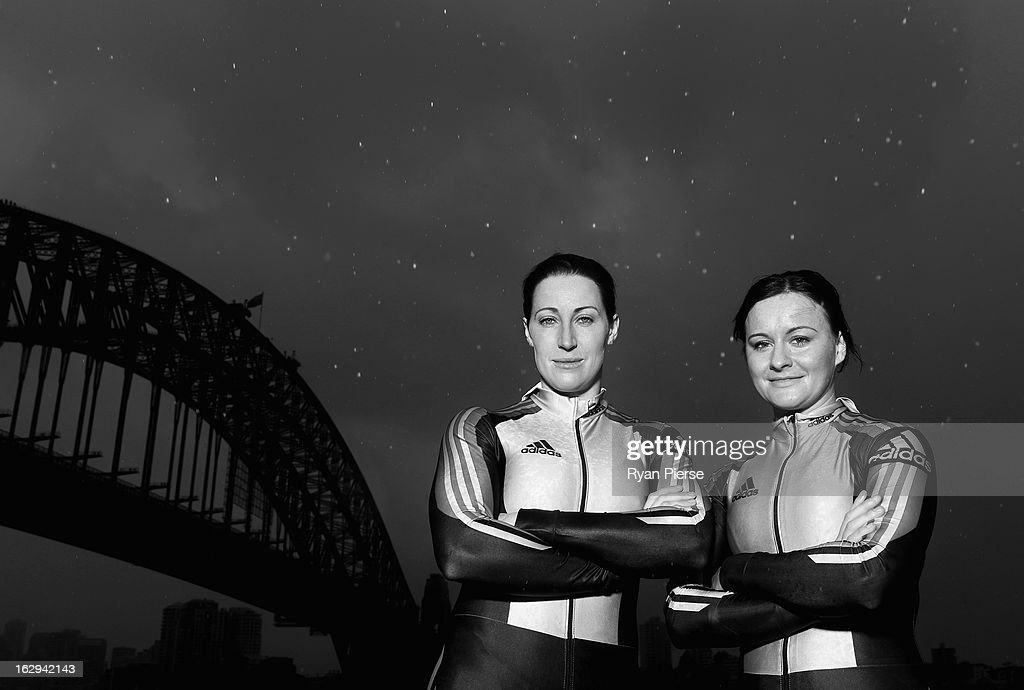 Jana Pittman (L) and Astrid Radjenovic (R) pose during a Australian Women's Bobsleigh Team Portrait Session on March 2, 2013 in Sydney, Australia. Pittman, a former 400m Hurdles World Champion has teamed up with Radjenovic in a bid to compete in the Sochi 2014 Winter Olympics.