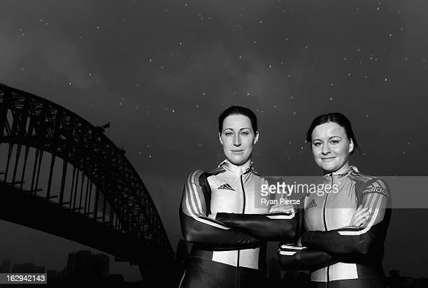 Jana Pittman and Astrid Radjenovic pose during a Australian Women's Bobsleigh Team Portrait Session on March 2 2013 in Sydney Australia Pittman a...