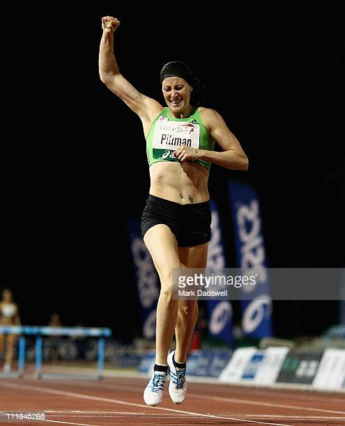Jana Pittman celebrates winning the Womens 400 Metre Hurdle final during the Australian Athletics Tour final held at the West Australian Athletics...